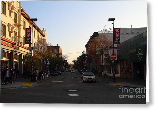 College Avenue Greeting Cards - Telegraph Avenue at Bancroft Way In Berkeley California  . 7D10174 Greeting Card by Wingsdomain Art and Photography