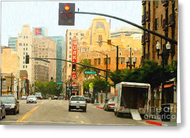East Bay Digital Art Greeting Cards - Telegraph Avenue in Oakland California Greeting Card by Wingsdomain Art and Photography