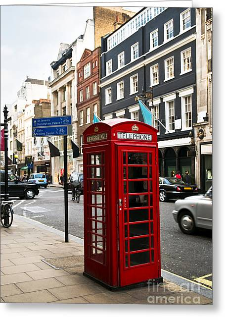 English Car Greeting Cards - Telephone box in London Greeting Card by Elena Elisseeva