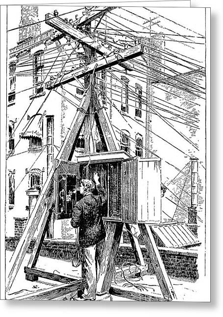 Telephone Wires Greeting Cards - Telephone Lines, 1891 Greeting Card by Granger