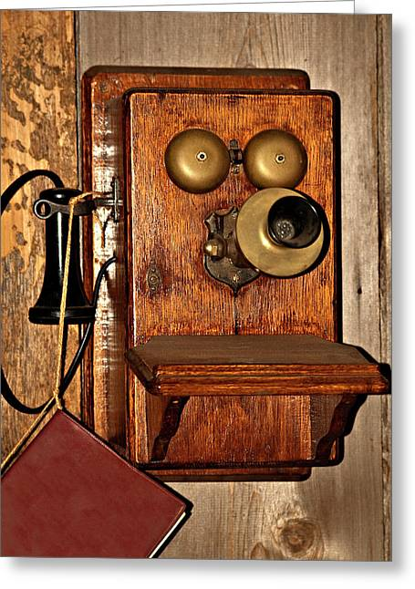 Old Relics Greeting Cards - Telephone Old Fashioned Greeting Card by Carolyn Marshall