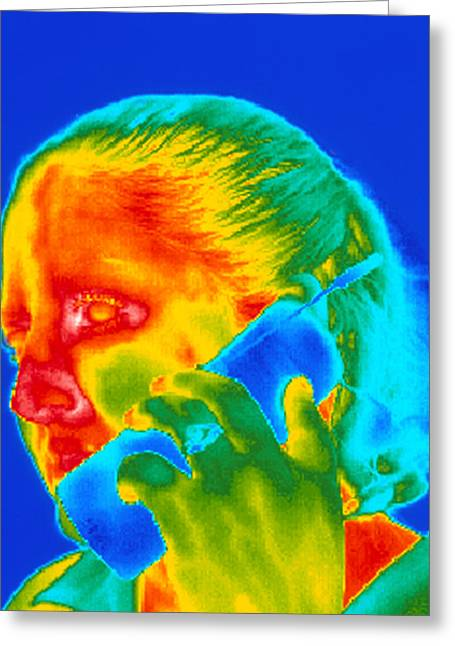 Thermogram Greeting Cards - Telephone Thermogram Greeting Card by Dr. Arthur Tucker