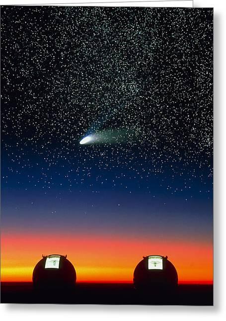 Hale-bopp Comet Greeting Cards - Telescope Domes On Mauna Kea With Hale-bo Greeting Card by David Nunuk