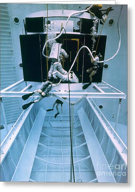 Rehearsing Greeting Cards - Telescope Repair Simulation Greeting Card by NASA/Science Source
