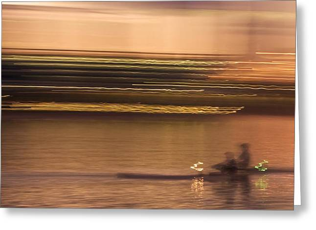 Desert Lake Greeting Cards - Tempe Town Lake Rowers Abstract Greeting Card by Dave Dilli