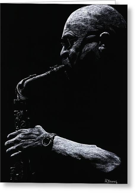 Performers Pastels Greeting Cards - Temperate Sax Greeting Card by Richard Young