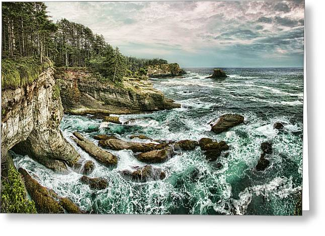Cape Flattery Greeting Cards - Tempest Edge Greeting Card by James Heckt