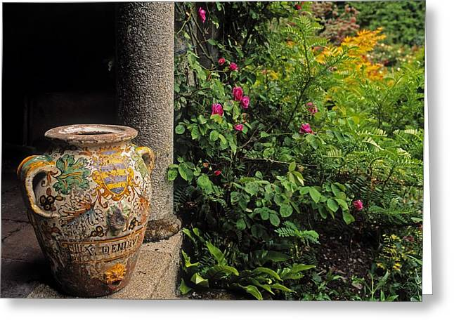 Statuary Garden Greeting Cards - Temple And Garden Urn, The Wild Garden Greeting Card by The Irish Image Collection