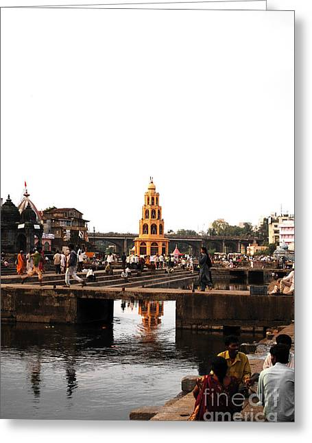Village Greeting Cards - temple and the river in India Greeting Card by Sumit Mehndiratta
