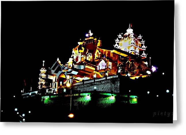 Beach At Night Greeting Cards - Temple at Night Greeting Card by Piety Dsilva