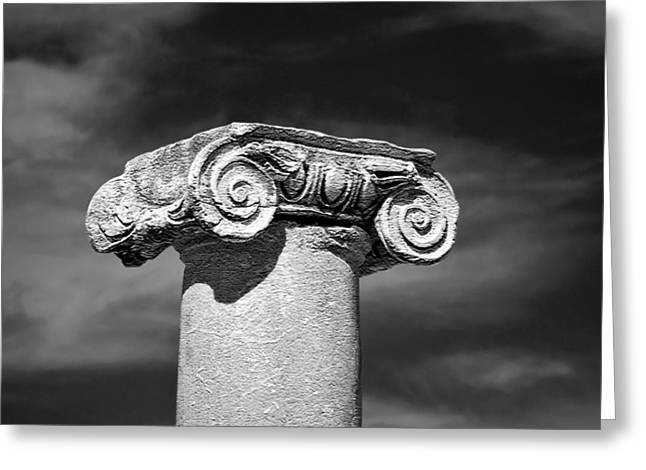 Ancient Ruins Digital Art Greeting Cards - Temple Column Greeting Card by Glennis Siverson