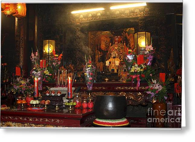 Alter Table Greeting Cards - Temple Deity and Incense Greeting Card by Maxine Bochnia