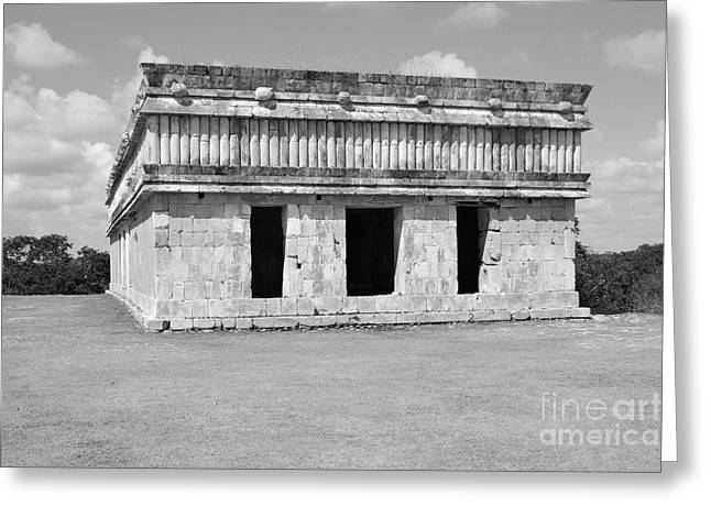 Mexico Greeting Cards - Temple of the Turtles at Uxmal Mexico Black and White Greeting Card by Shawn O