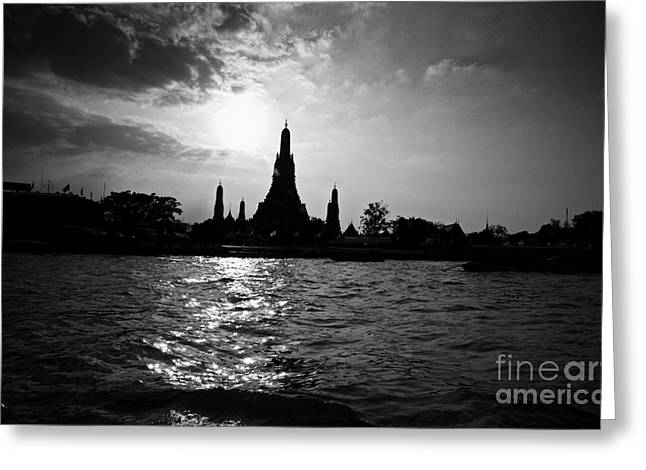 Thanh Tran Greeting Cards - Temple Silhouette Greeting Card by Thanh Tran