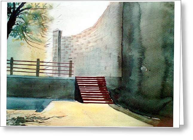 Anil Nene Greeting Cards - Temple steps Greeting Card by Anil Nene