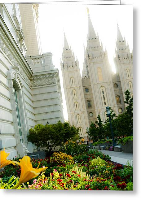 Salt Lake City Temple Photography Greeting Cards - Temple Tilt Greeting Card by La Rae  Roberts