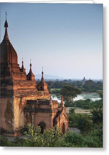Bagan Greeting Cards - Temples of Bagan Greeting Card by Nina Papiorek