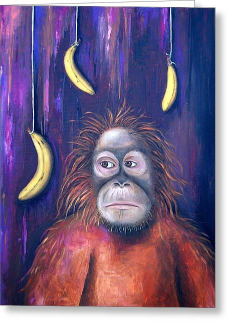 Bananas.ape Greeting Cards - Temptation Greeting Card by Leah Saulnier The Painting Maniac