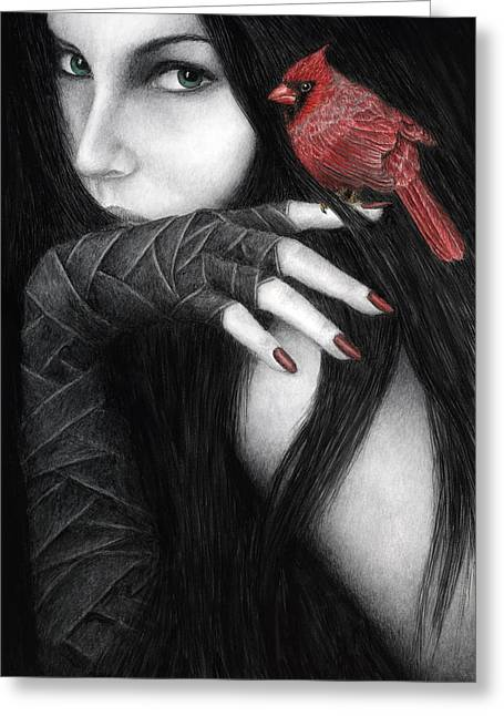Black Hair Greeting Cards - Temptation Greeting Card by Pat Erickson