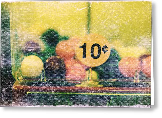 Vending Machine Photographs Greeting Cards - Ten cent candy Greeting Card by Toni Hopper