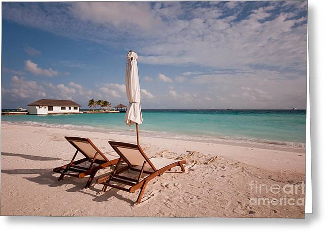Leasure Greeting Cards - Tender Evening Sun. Maldivian Beach Greeting Card by Jenny Rainbow