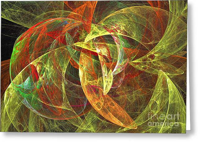 Interior Still Life Mixed Media Greeting Cards - Tender heart of flower - abstract art Greeting Card by Abstract art prints by Sipo