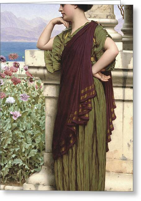 Lost In Thought Paintings Greeting Cards - Tender Thoughts Greeting Card by John William Godward