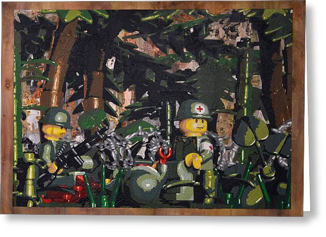 Lego Greeting Cards - Tending to the Wounded Vietnam Greeting Card by Josh Bernstein