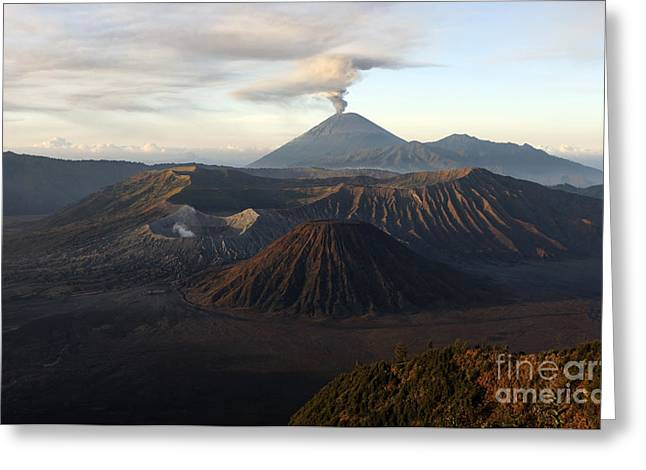 Tengger Caldera With Erupting Mount Greeting Card by Martin Rietze
