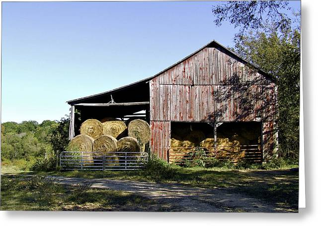 Franklin Farm Greeting Cards - Tennessee Hay Barn Greeting Card by Richard Gregurich