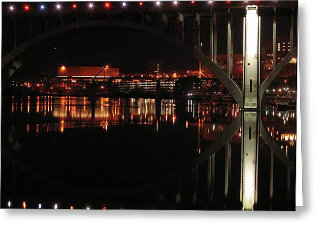 Tennessee River in Lights Greeting Card by Douglas Stucky