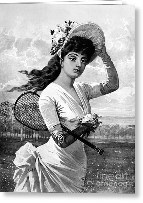 Sportswoman Greeting Cards - Tennis, 1887 Greeting Card by Granger