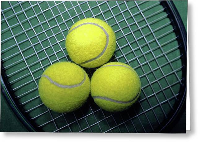 Best Sellers -  - Racquet Greeting Cards - Tennis Anyone Greeting Card by Sally Weigand