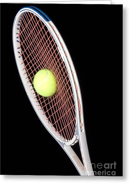 Stroboscopic Images Greeting Cards - Tennis Ball And Racket Greeting Card by Ted Kinsman