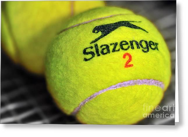 Racquet Greeting Cards - Tennis Balls Greeting Card by Kaye Menner