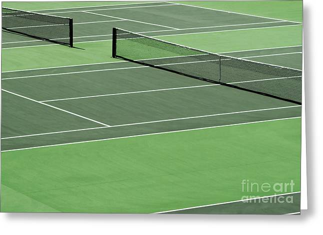 Slam Greeting Cards - Tennis court Greeting Card by Blink Images