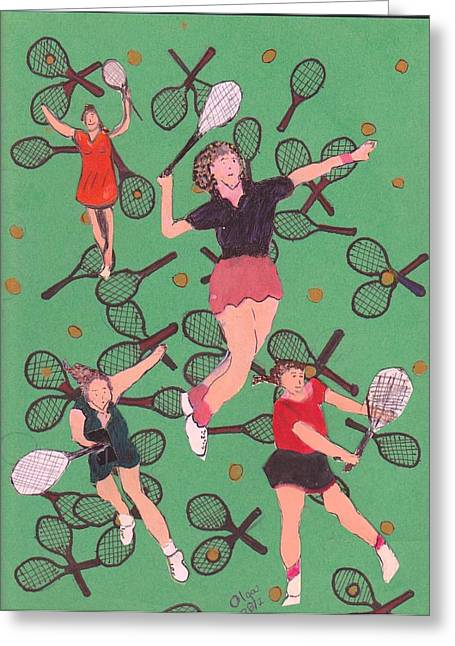 Racquet Paintings Greeting Cards - Tennis Girls On Racquets Greeting Card by Olga Roos