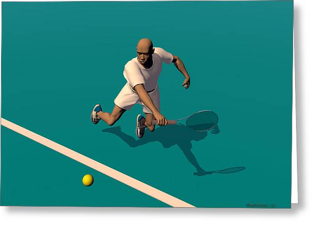 Player Greeting Cards - Tennis Player 1 Greeting Card by Walter Oliver Neal