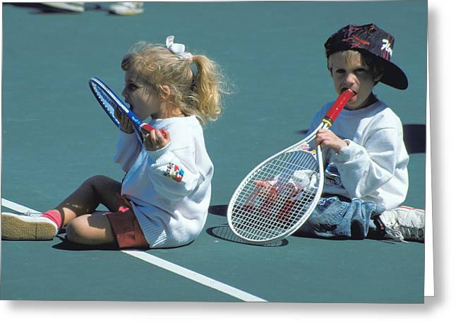 Tennis Tots at Wimbledon Greeting Card by Carl Purcell