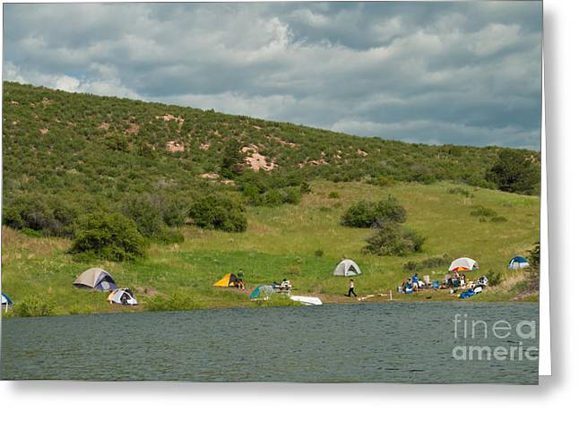 Horsetooth Reservoir Greeting Cards - Tent Camping at Horsetooth Reservoir Greeting Card by Harry Strharsky