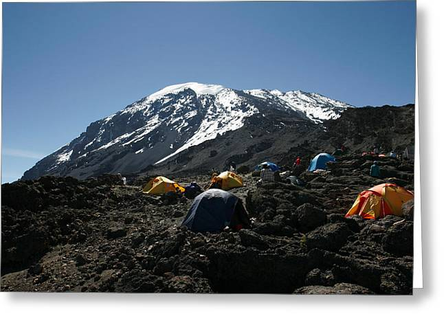 Mount Kilimanjaro National Park Greeting Cards - Tents Below Mount Kilimanjaro Greeting Card by Gina Martin