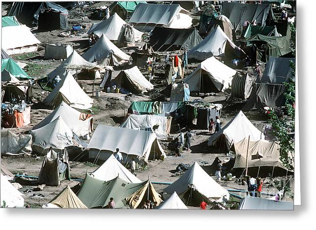 Unhygienic Greeting Cards - Tents Cover The Mountainside Greeting Card by Stocktrek Images