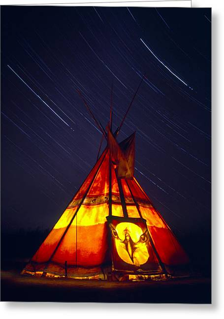 Heritage Home Greeting Cards - Tepee And Star Trails, Jacques-cartier Greeting Card by Yves Marcoux