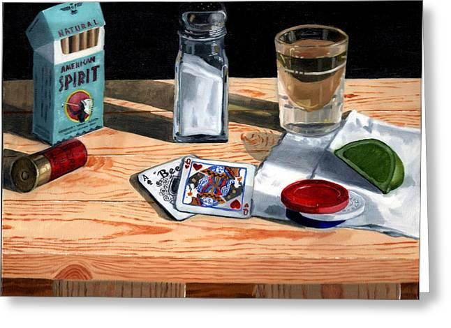 Dark Wood Table Greeting Cards - Tequila with Lime No. 4 Greeting Card by Thomas Weeks