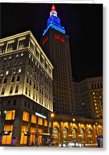 Terminal Photographs Greeting Cards - Terminal Tower and Casino Greeting Card by Frozen in Time Fine Art Photography