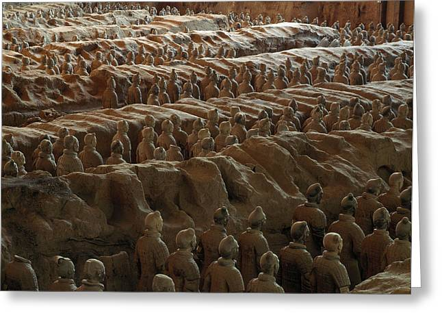 Qin Greeting Cards - Terra-cotta Soldiers Face An Imaginary Greeting Card by O. Louis Mazzatenta