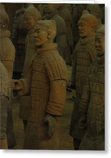Terra Cotta Warriors Excavated At Qin Greeting Card by Richard Nowitz