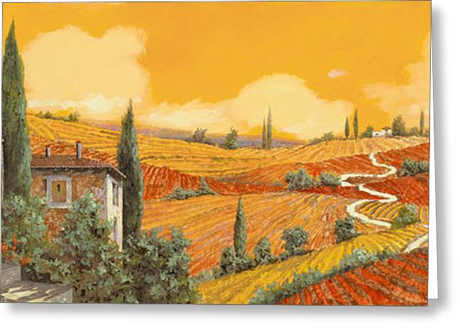 Vineyards Paintings Greeting Cards - terra di Siena Greeting Card by Guido Borelli