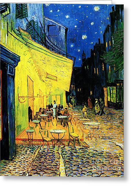 Night Cafe Greeting Cards - Terrace of the cafe on the Place du Forum in Arles in the evening Greeting Card by Pg Reproductions