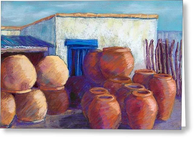 Large Pastels Greeting Cards - Terracotta Pots Greeting Card by Candy Mayer